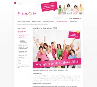 """Aktionsseite für die """"Mrs.Sporty des Jahres""""-Wahl"""